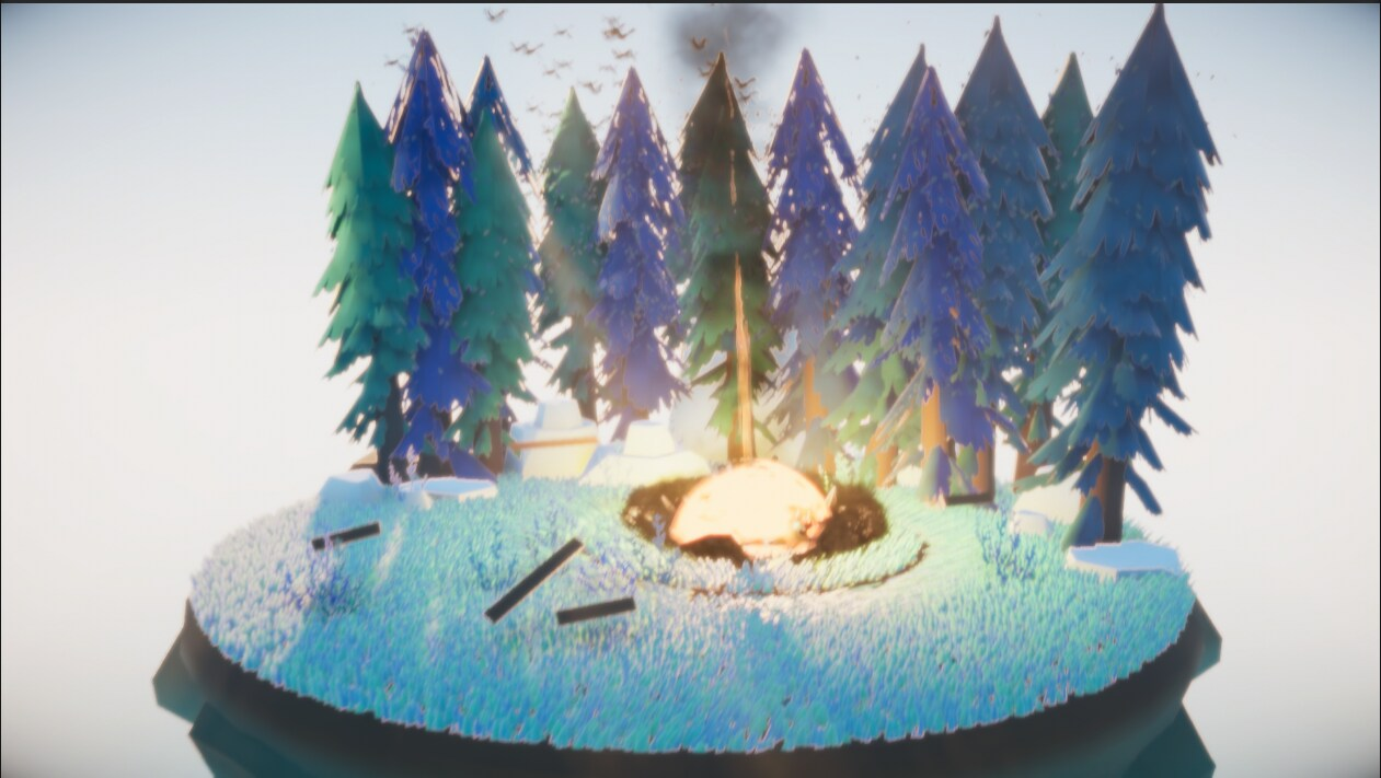 Still image of meteorite in the middle of hitting a small forest scene