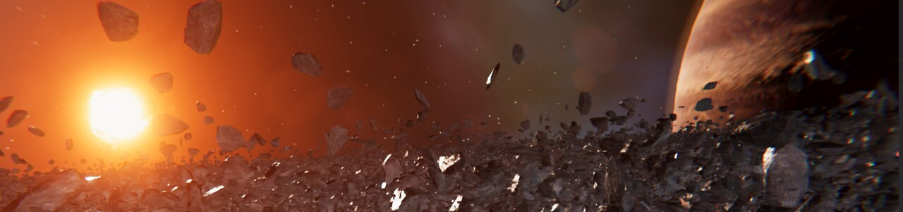 Image of generated space with a planet, meteorites, and a sun in the background