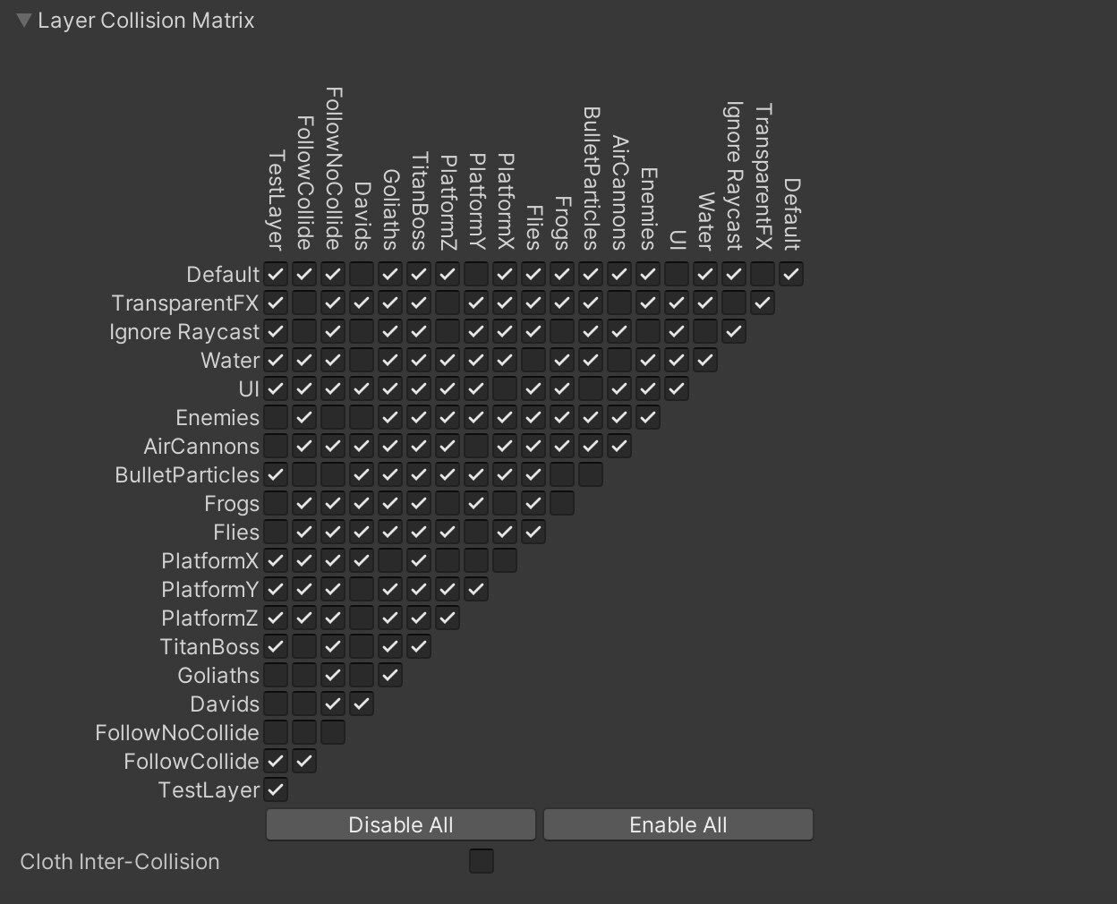 Matrix of the collision layers that have been added to the physics profiler with a grey background and white text
