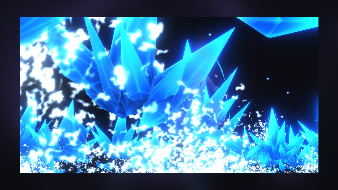 Blue ice particles