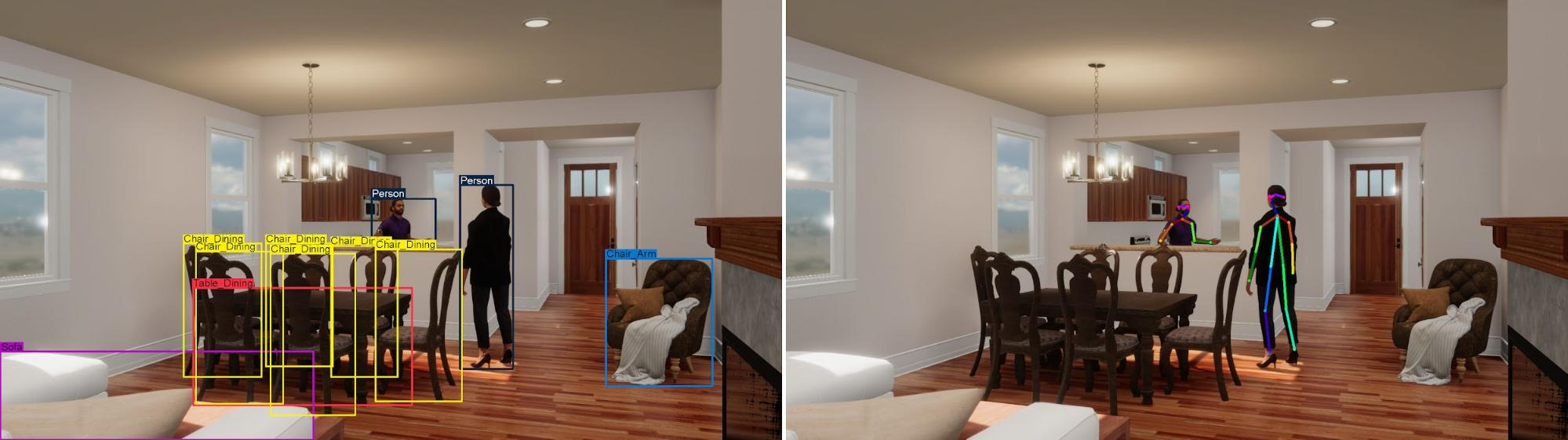 AI recognizing 2 people and objects in a room