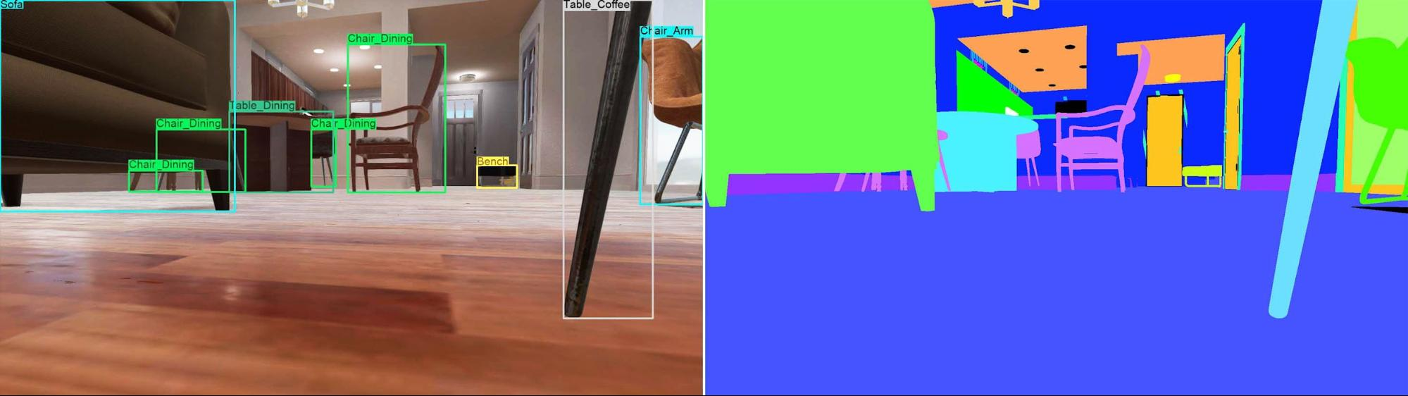 Simulating the point of view of a smart vacuum cleaner. Left: 2D bounding boxes, Right: semantic segmentation
