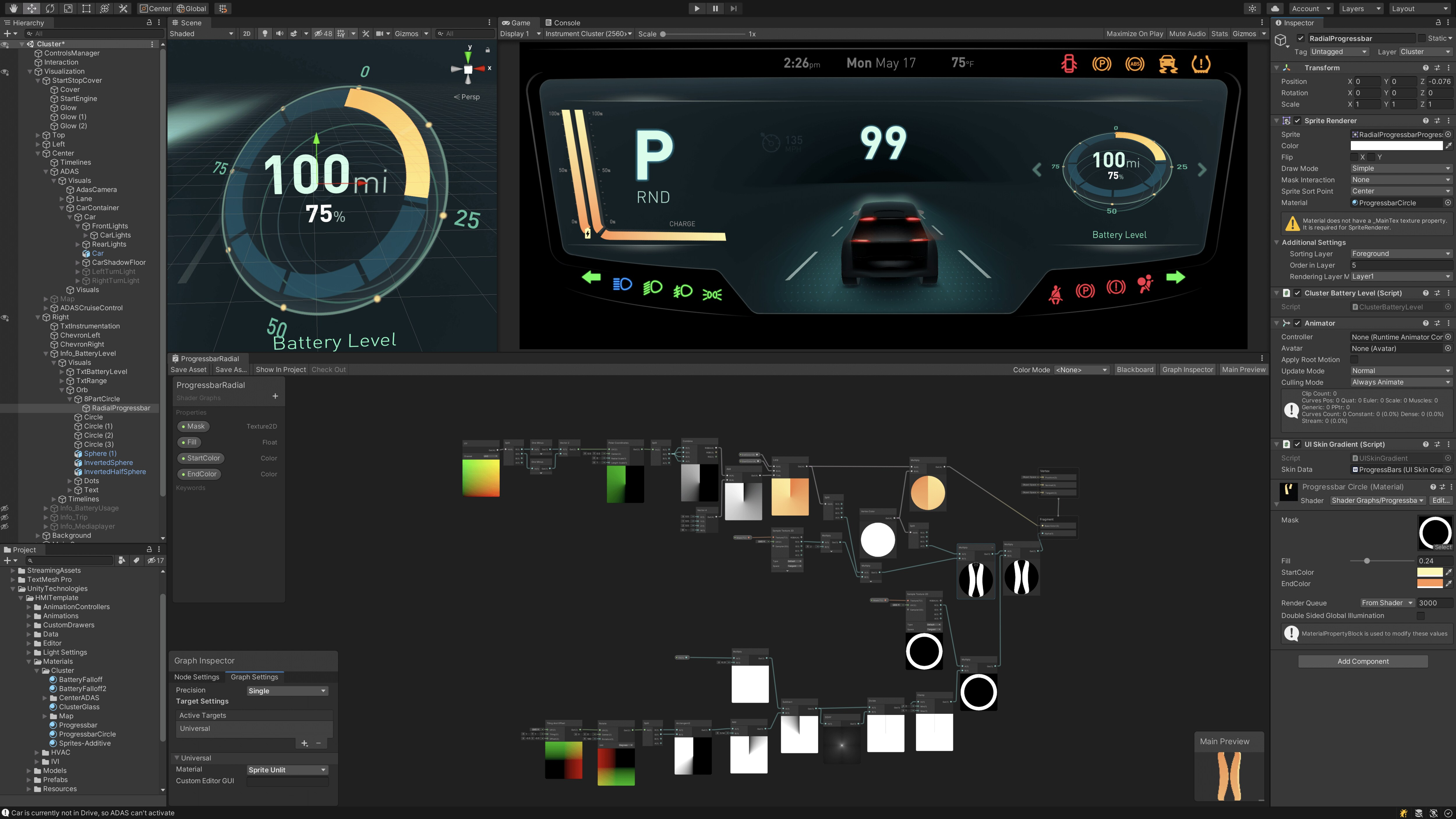 Car interface developed in unity showing speed, light levels, and heat