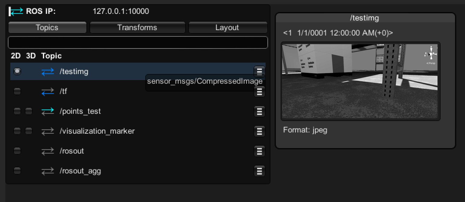 The Topics menu operates similarly to rviz: clicking the radio button turns on visualization in the Unity Scene.