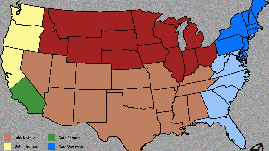 Displays who's responsible for each US state