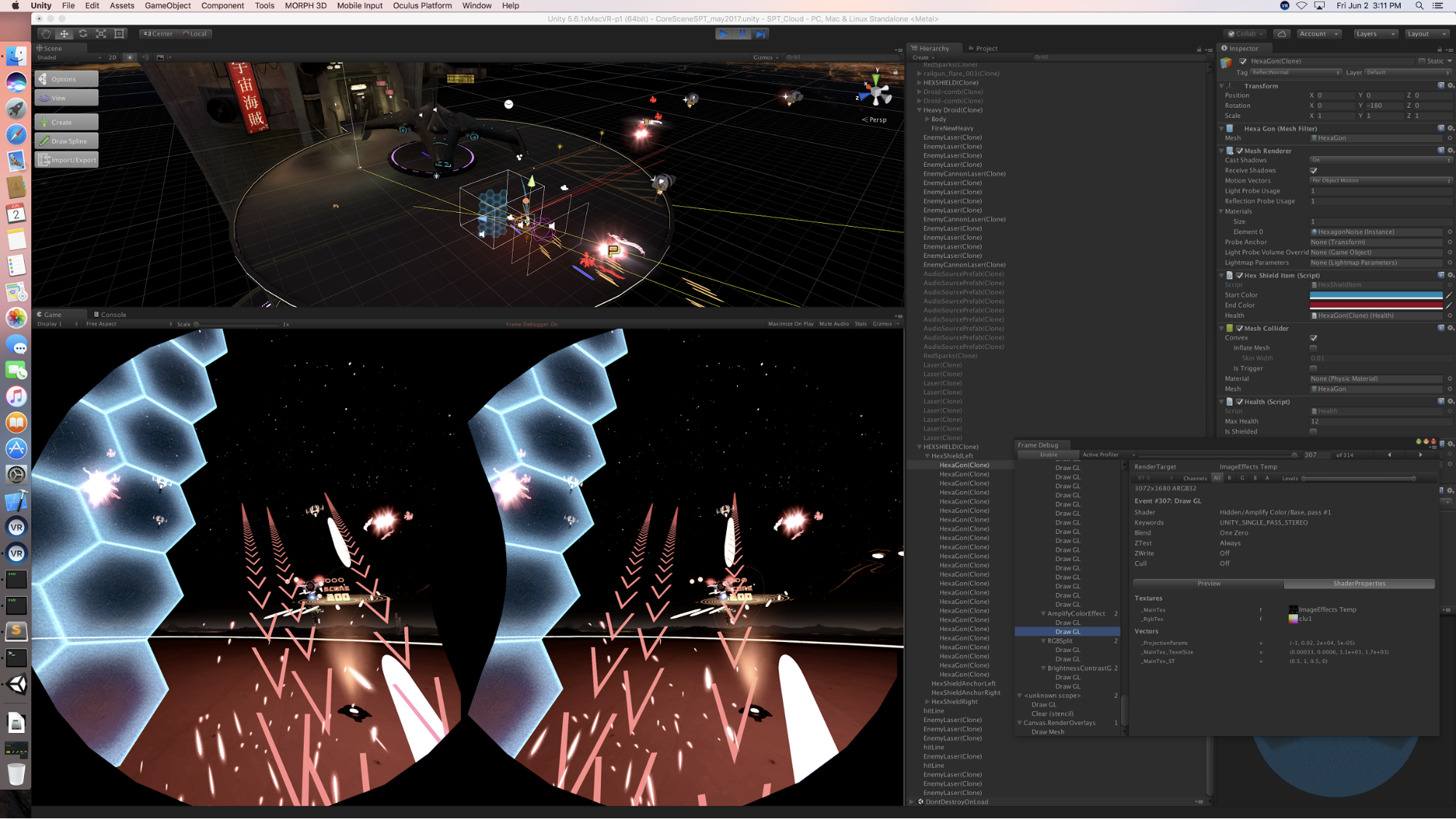 Unity editor screen view of macOS with game Space Pirate Trainer in VR mode