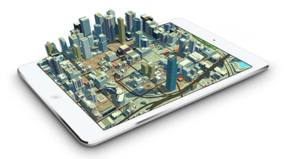 3D map showing visualization of city buildings coming out of an ipad screen