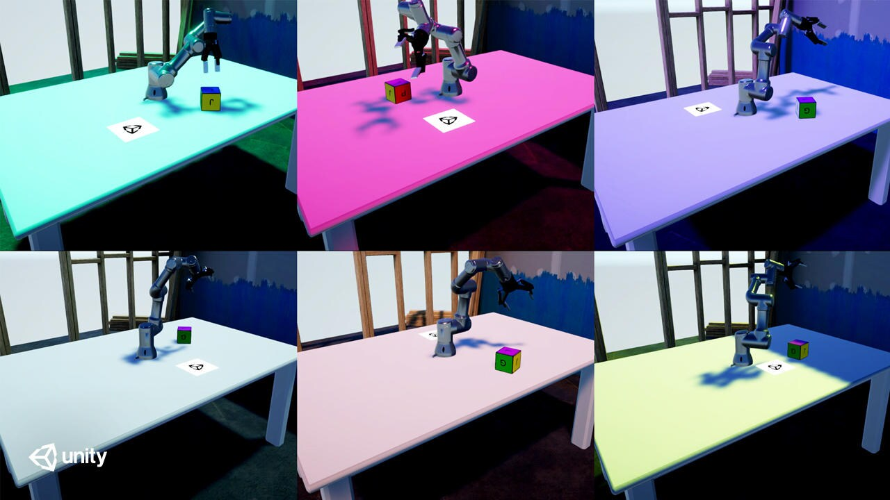 Robot arms on different colored tables