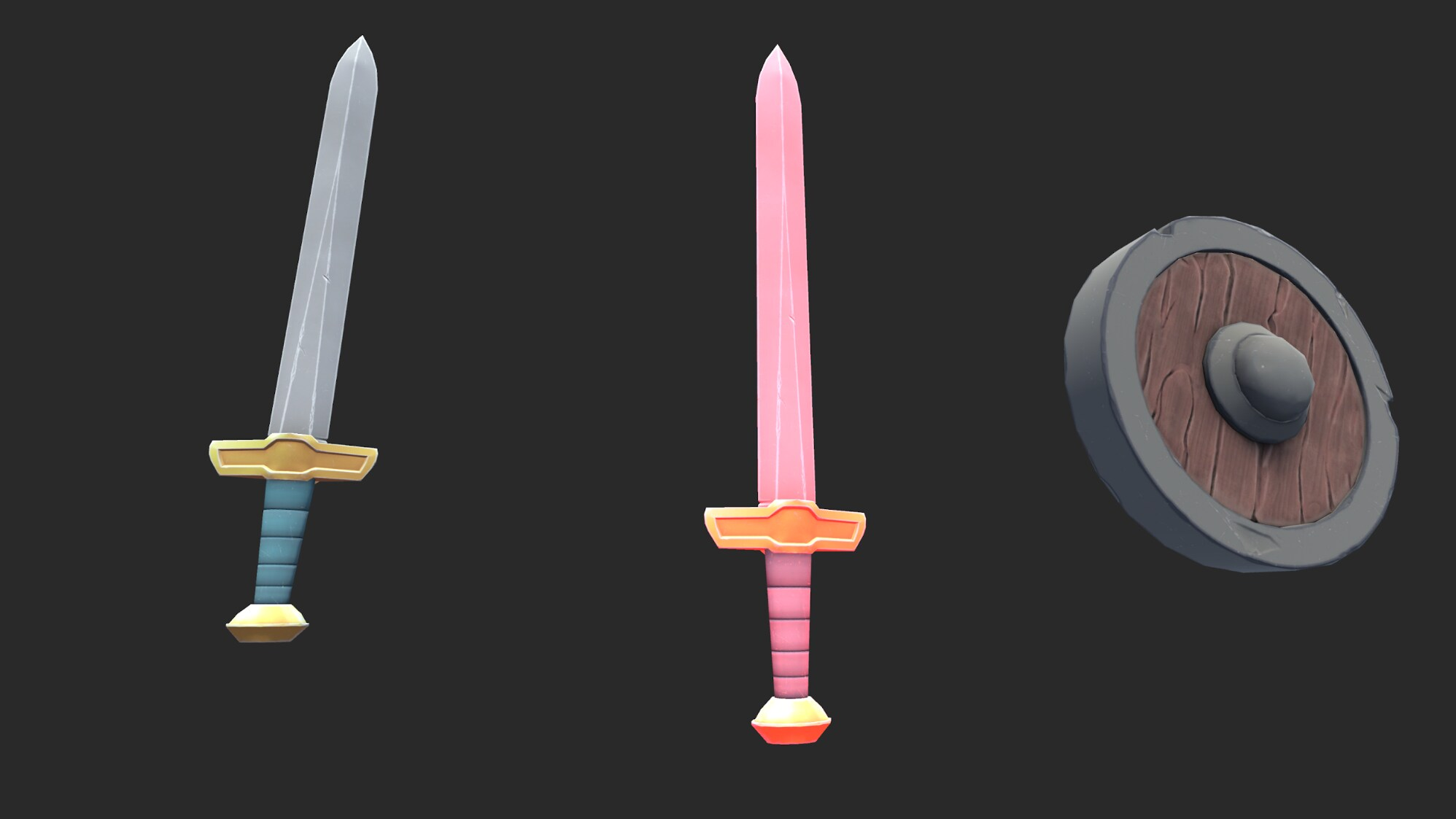 A silver/grey sword is on the left, a pink sword is in the middle and a wooden/brown and silver/grey circular shield is on the right. The background is black.