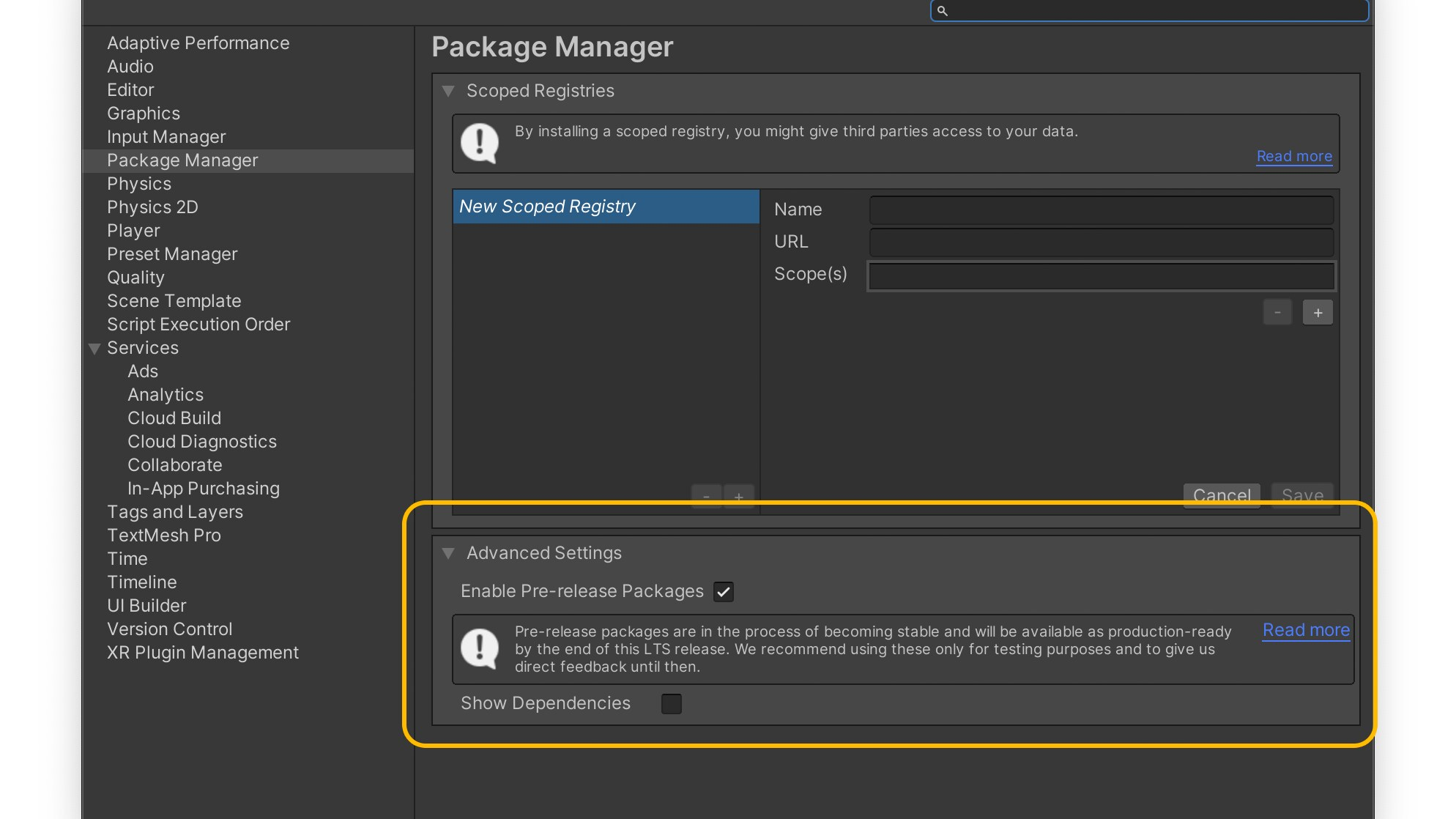 Screenshot showing how to enable pre-release packages