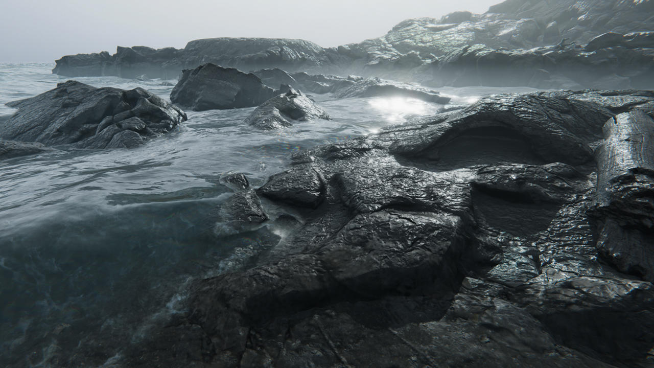 Image of rocky landscape by the water created in Unity.