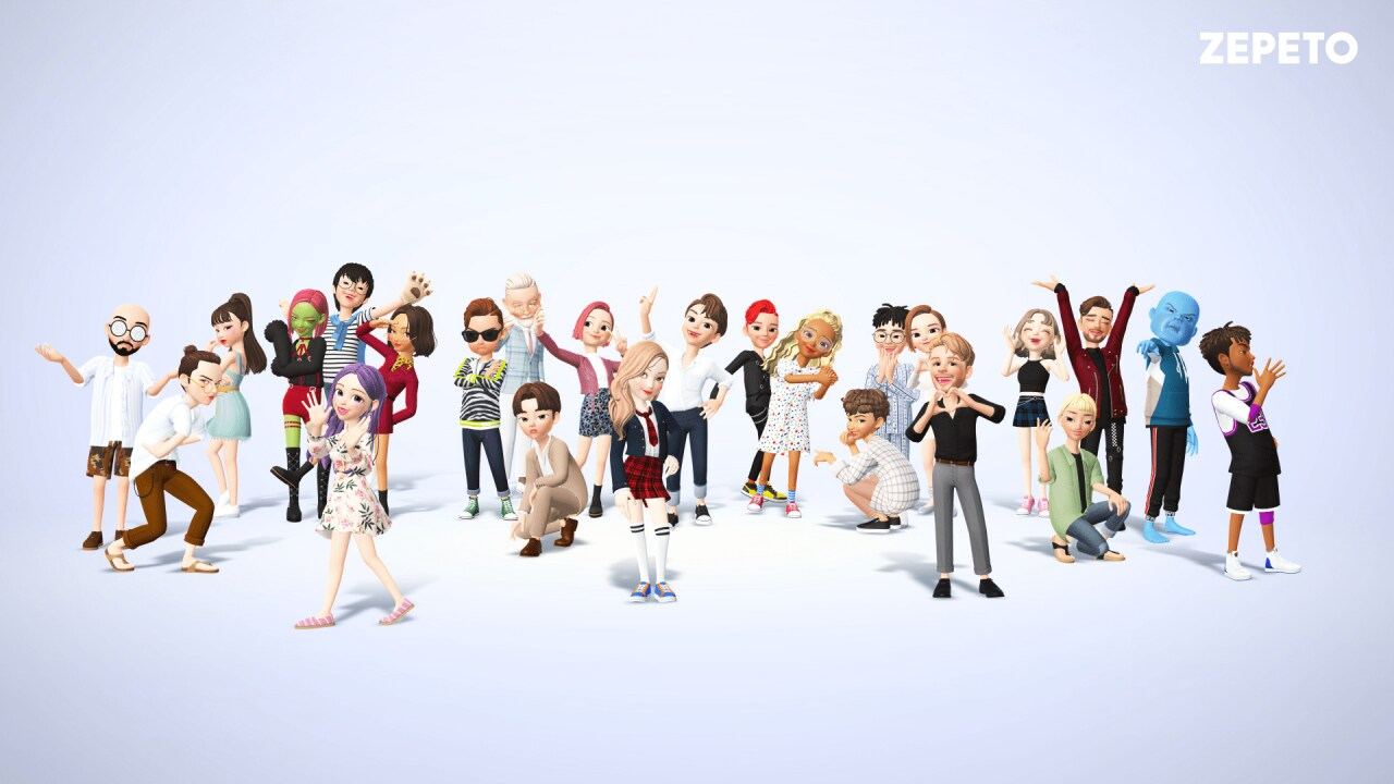 In the cente of the image is a large group of characters from the ZEPETO platform
