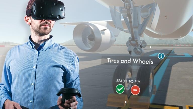 Man wearing VR headset with airplane in background