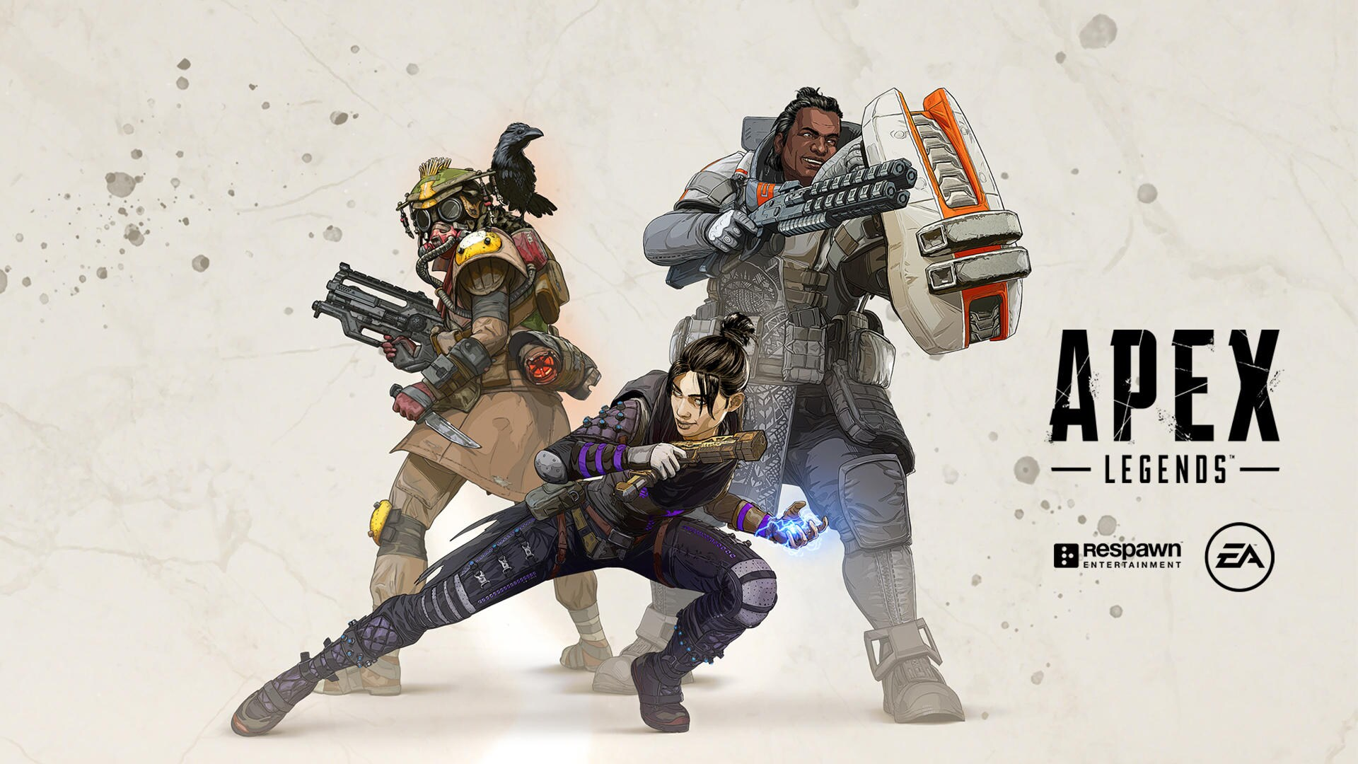 Three Apex legends heroes posing on a beige background with the text Apex Legends.