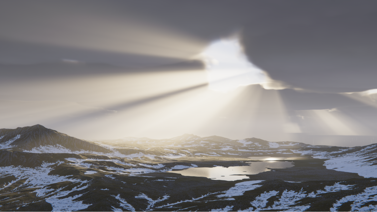 Screenshot of snowy mountains made in Unity
