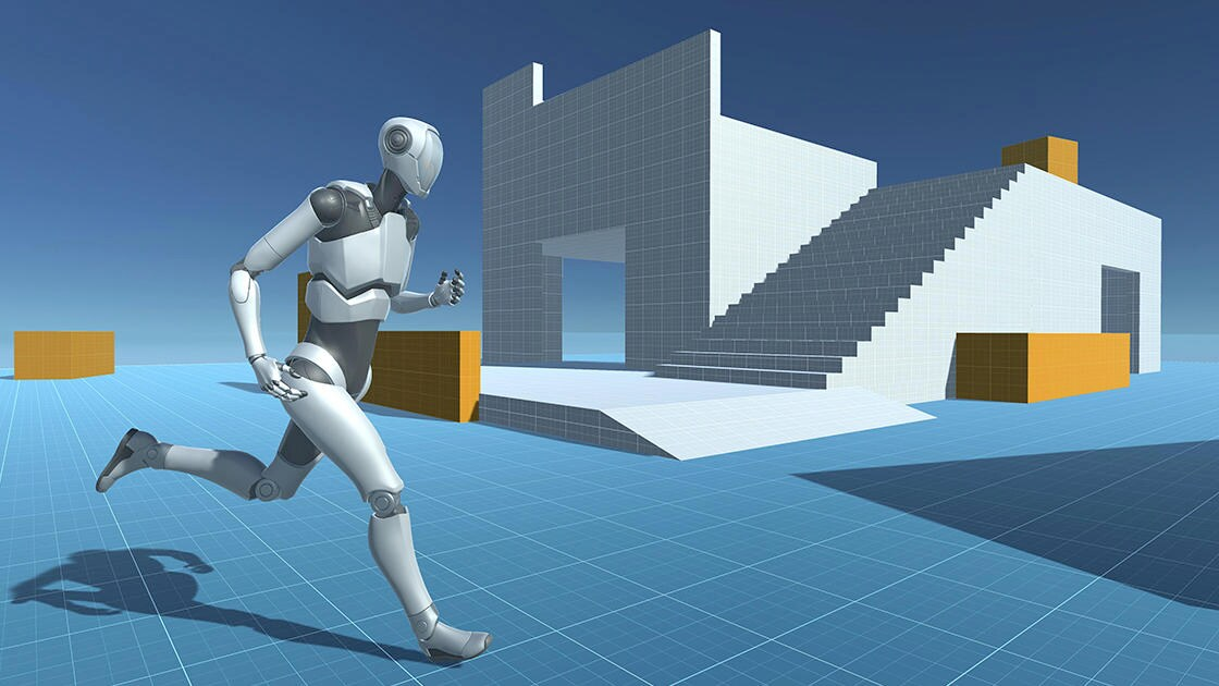 Image of robot running in Unity
