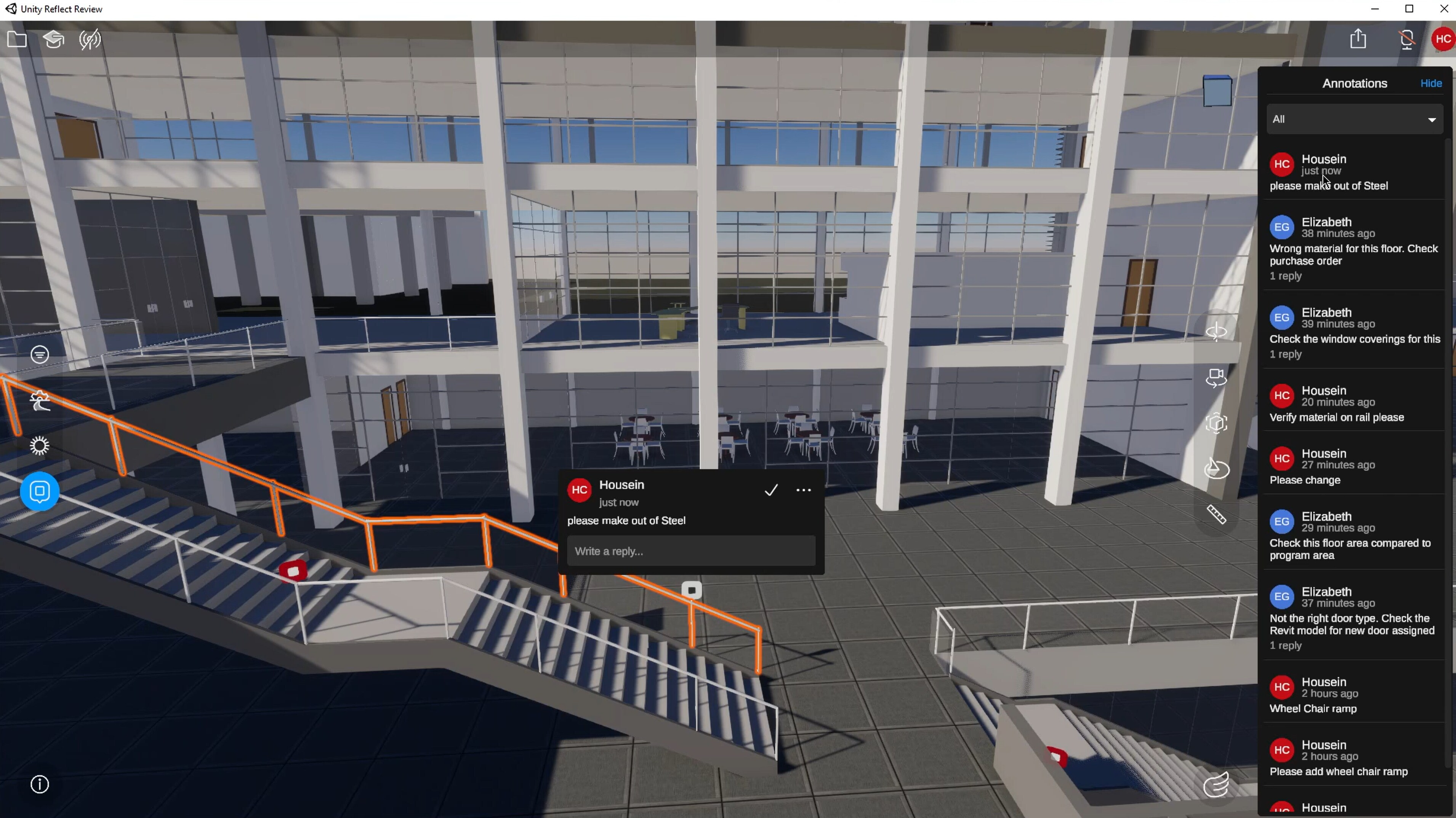 Screenshot of new annotation capabilities in reflect review demonstrated with a multi-level 3d building model