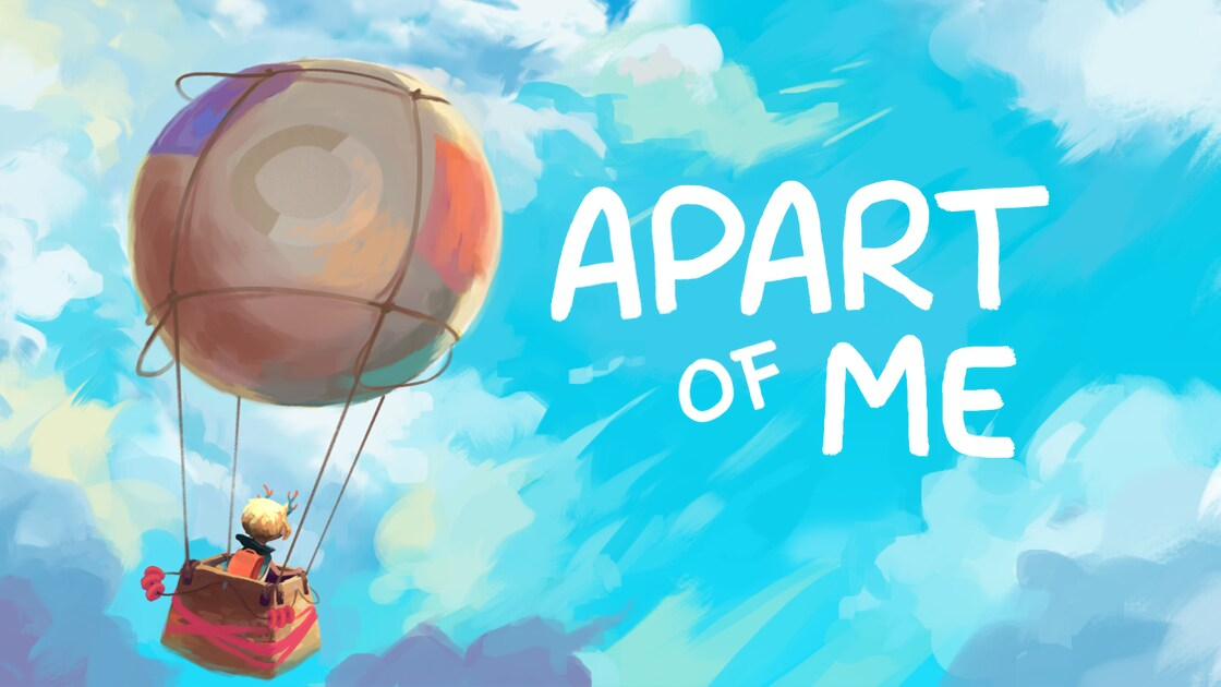 """Hot air balloon floating with a background of a blue sky with clouds and the words, """"Apart of Me"""" in white"""