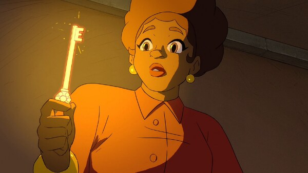 A person looking at a glowing gold key in hand, from the game, Dot's Home.