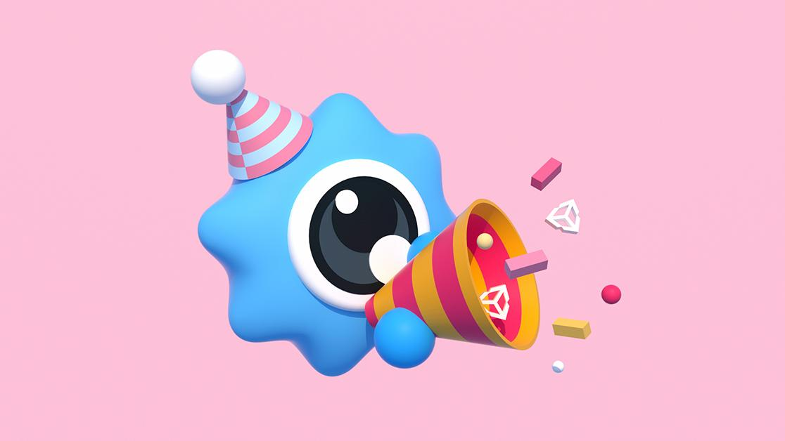 This graphic shows a blue, one-eyed star wearing a party hat, on a pink background