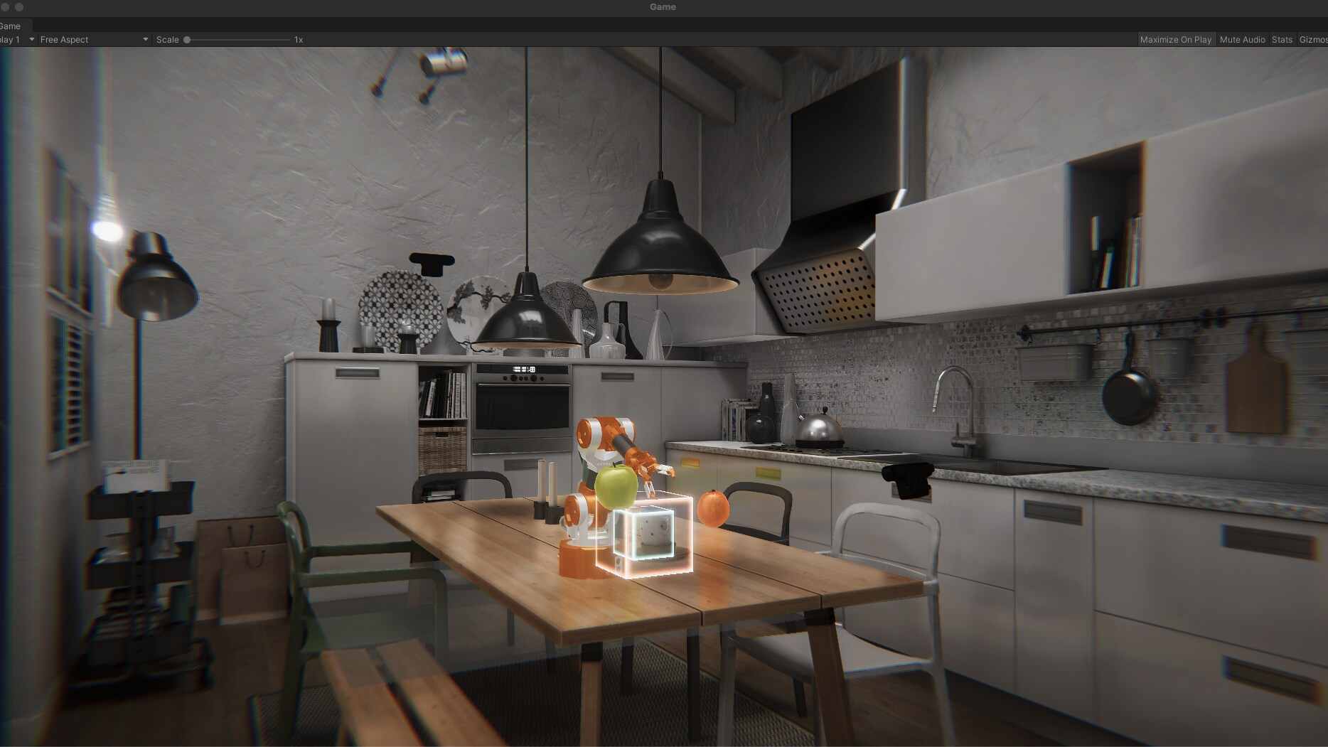 kitchen digital twin with a robot on a dining table