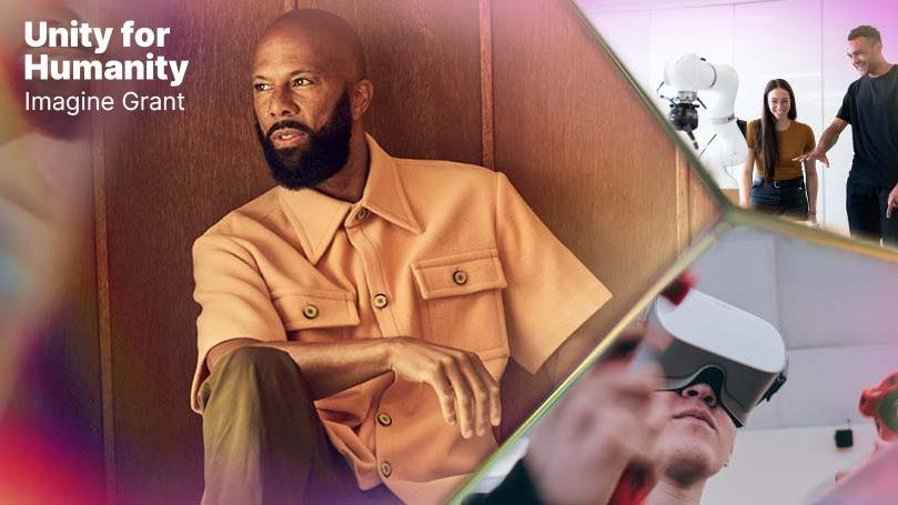 """Image of artist, actor, and activist, Common, sitting in an orange shirt, with the words, """"Unity for Humanity Imagine Grant"""" overlaid, along with images of people using VR technology."""