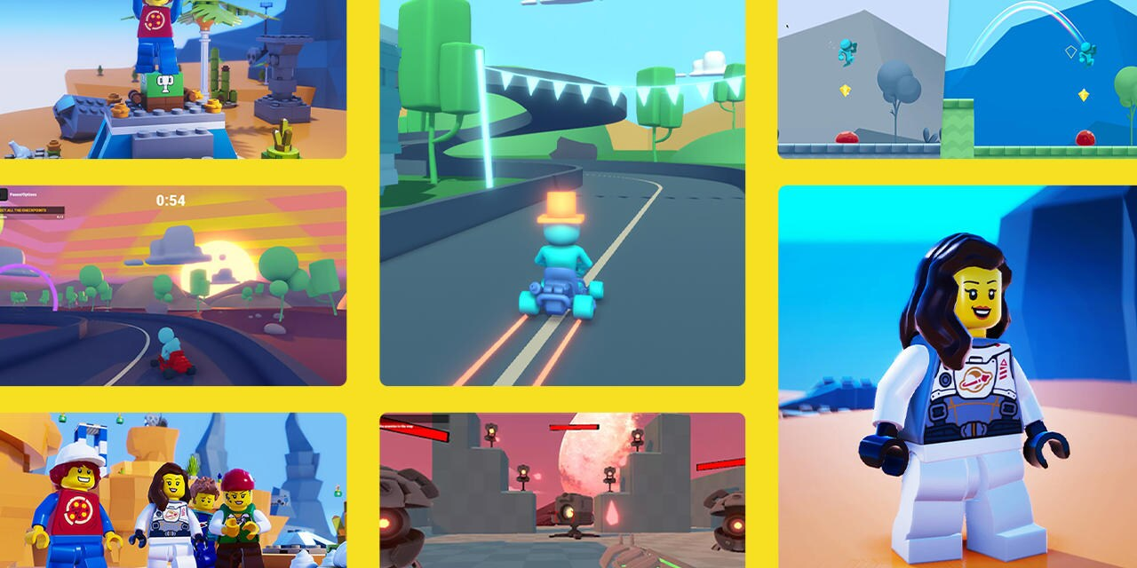 A collage of images the FPS microgame, the Lego microgame and the karting microgame with yellow separating them
