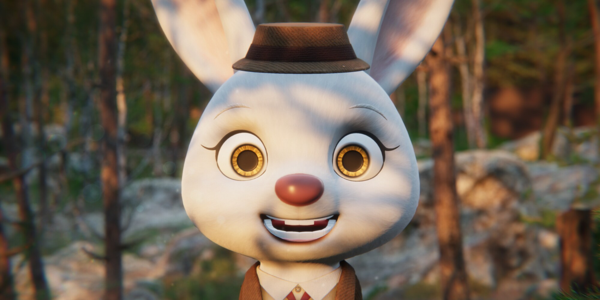 A bunny is looking at you, smiling.