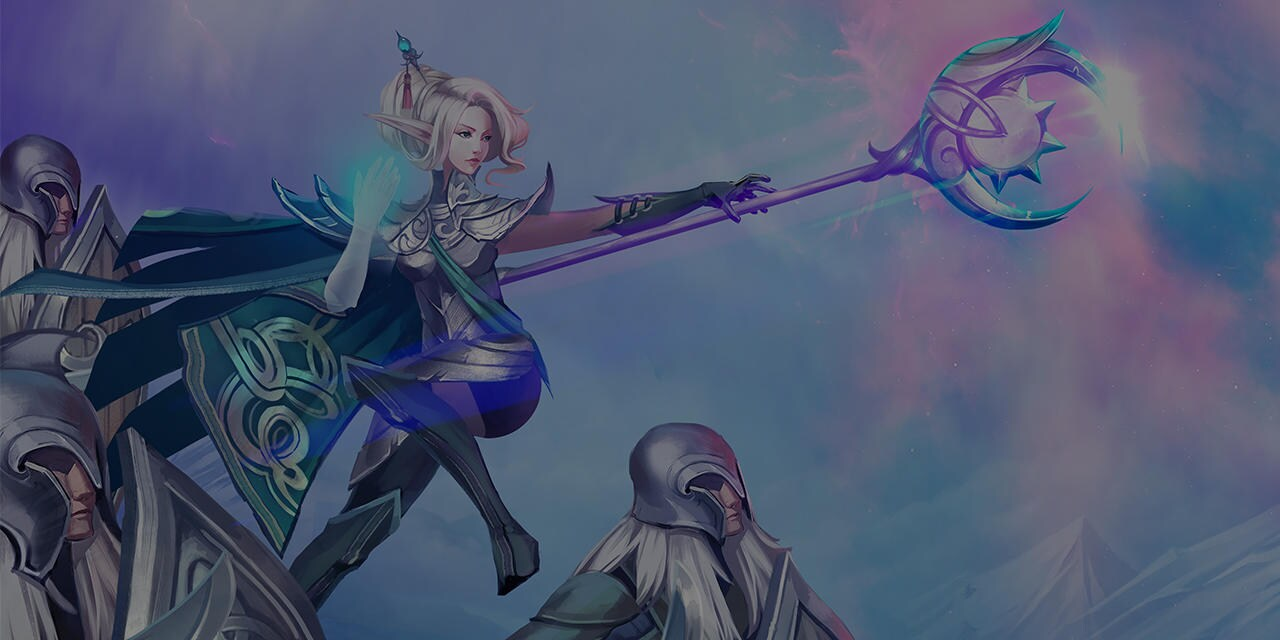 Image of animated fantasy scene depicting a woman with a large staff