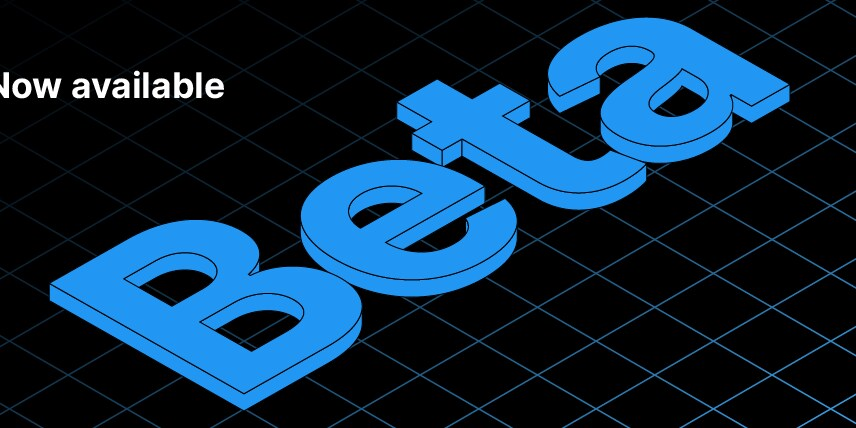 words 'Beta' in blue on a black background