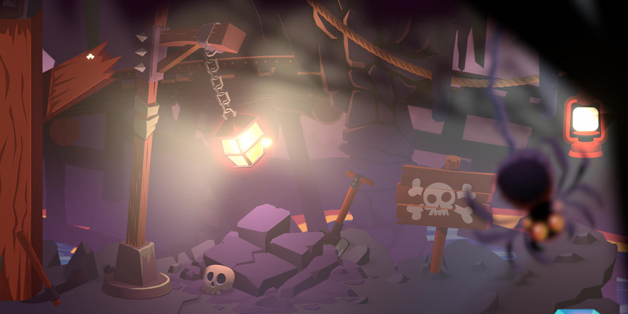 Creepy image of cartoon cavern illuminated by a lantern featuring skeletons and a spider.