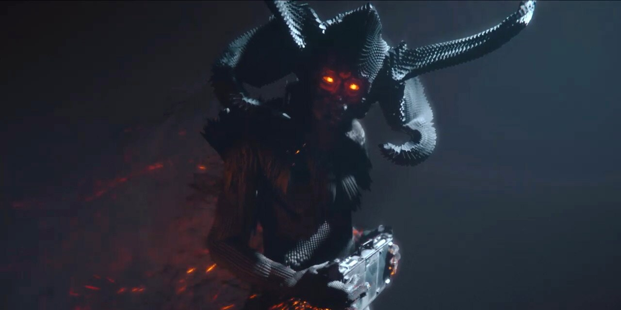 Scary metal character with red eyes