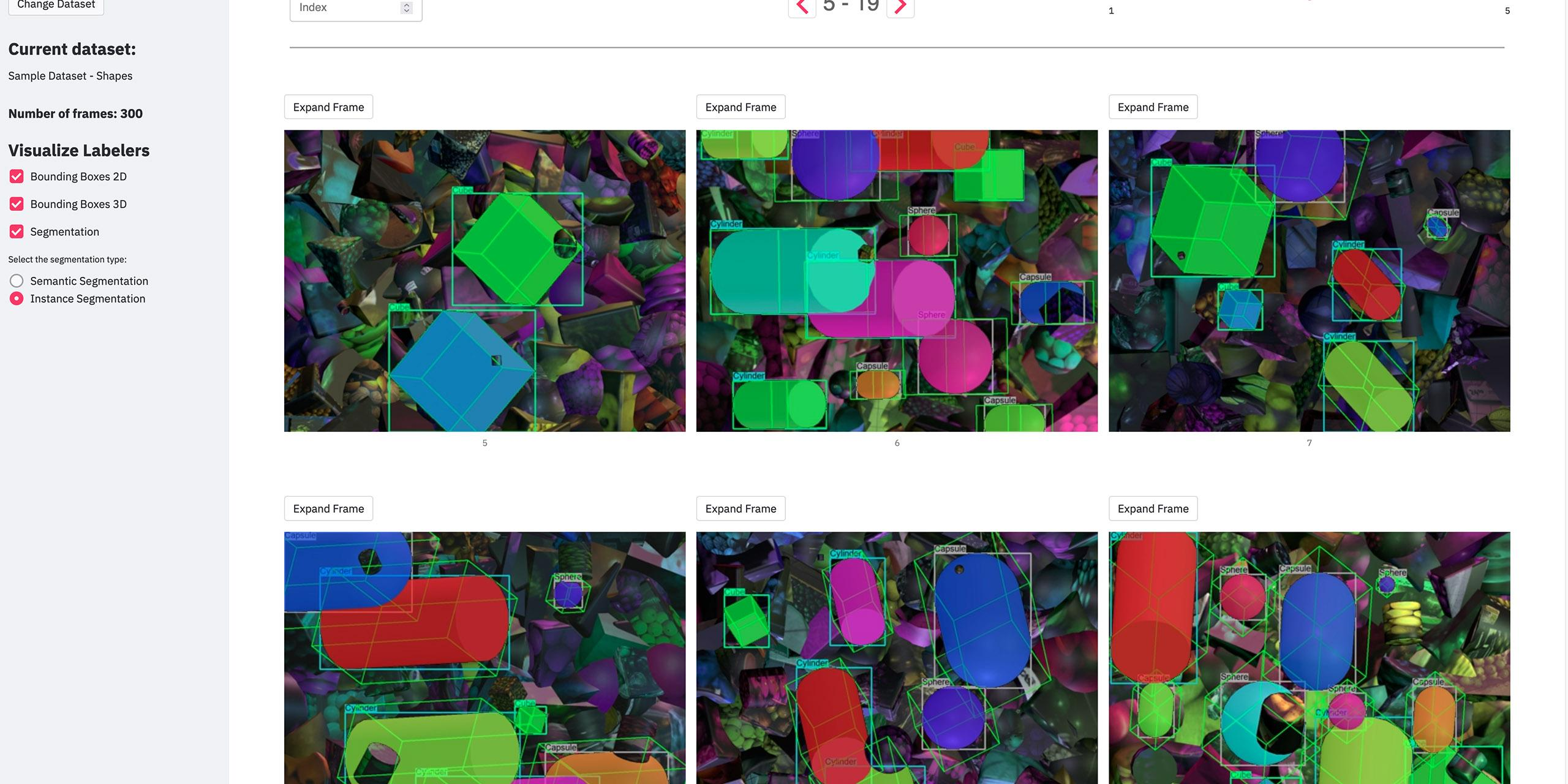 an AI dataset visualizer with shapes