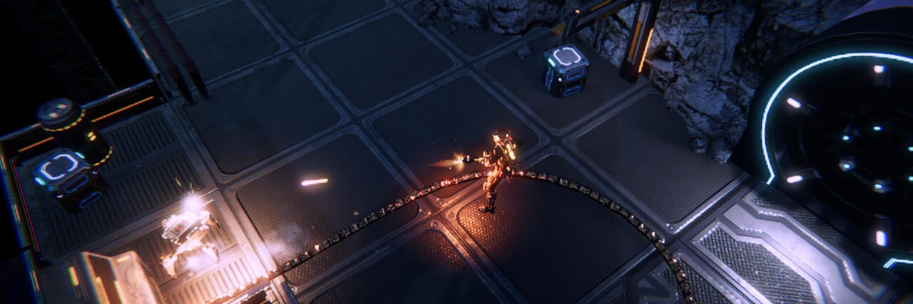 Game scene with space soldier shooting a robot