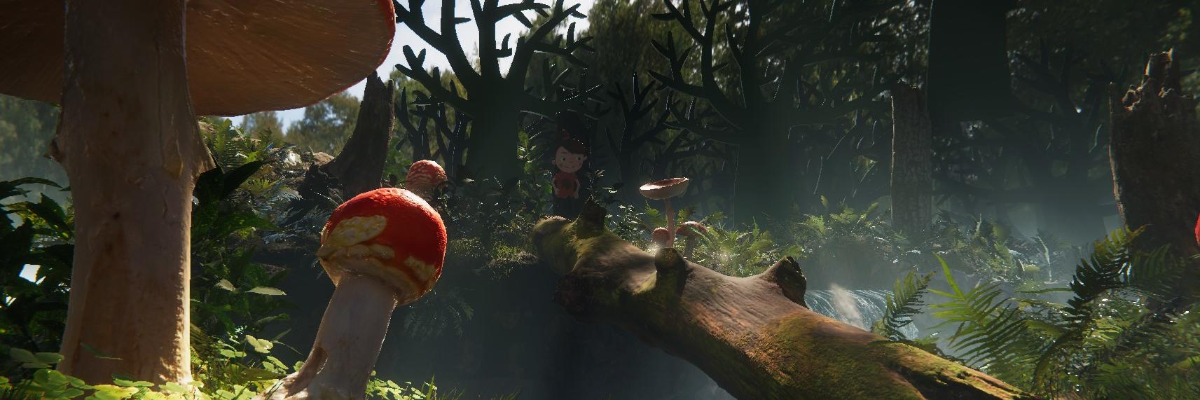 A forest full of mushrooms