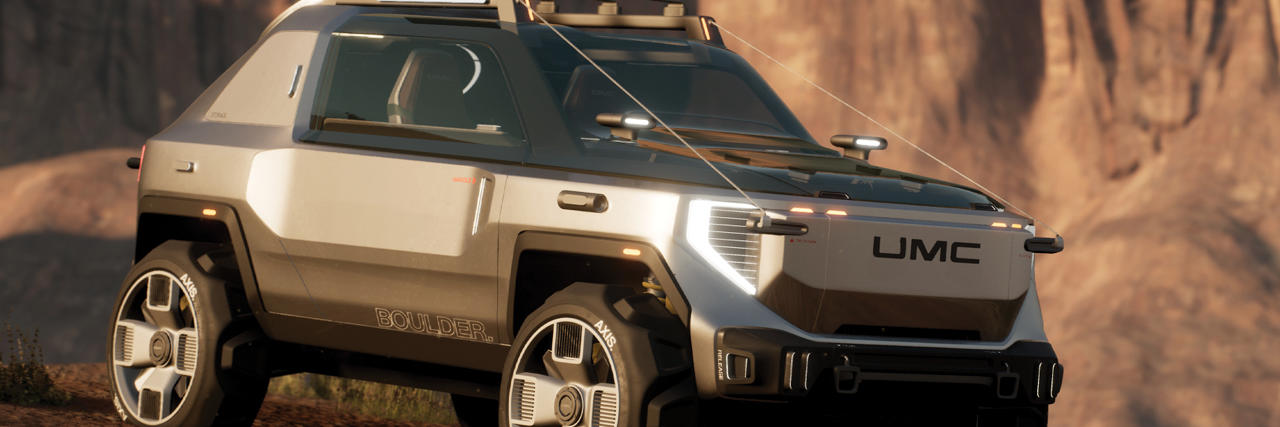 Four by four, jeep type vehicle created in Unity on top of a rocky desert.
