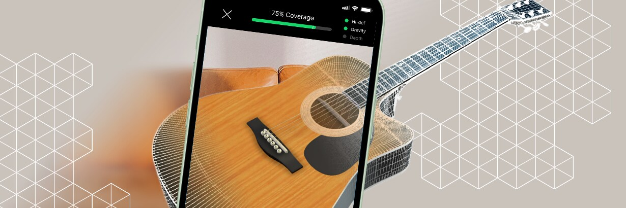 Image of phone capturing an image of a guitar